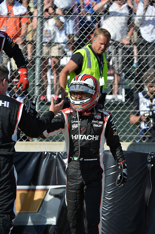 Helio Castroneves wins Duel #2, The Raceway at Belle Isle Park, Detroit, MI USA 6/1/2014