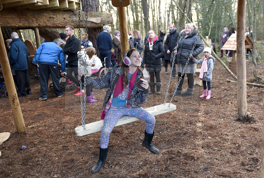 © Licensed to London News Pictures. 30/01/2016. Slough, UK. Daisy Adams, 12 at the formal opening of a wooden treehouse in memory of murder victim Alice Adams in Black Park, Wexham on Saturday 30th January. The 20-year-old was stabbed to death in August 2011 with her friend and co-worker Tibor Vass, at a staff flat behind the Radisson Edwardian Hotel near Heathrow Airport. The murderer was Attila Ban, aged 32,  who also worked at the hotel as a receptionist. After the death of Alice, her family created a charity called, Alice Adams Foundation, to raise money to build the treehouse. Photo credit should read: Emma Sheppard/LNP