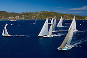 Gliss, Rebecca, Hyperion, and Salperton racing in the St. Barth Bucket regatta.