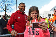 Callum Wilson (13) of AFC Bournemouth has a selfie with a fan on arrival ahead of the Premier League match between Bournemouth and Liverpool at the Vitality Stadium, Bournemouth, England on 7 December 2019.