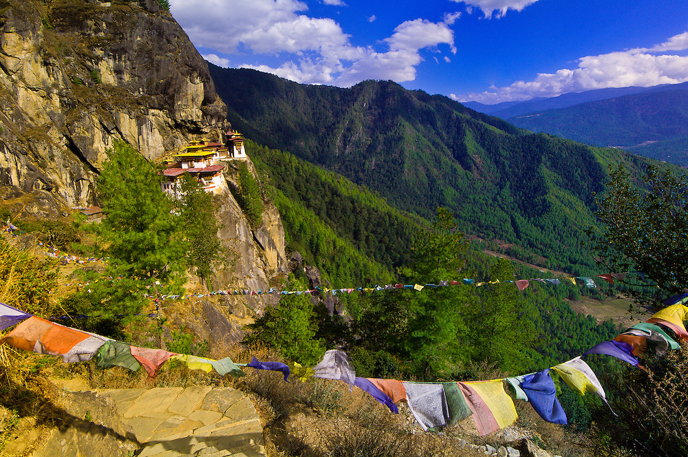 Prayer flags at Taktshang Monastery (Tiger's Nest), Paro