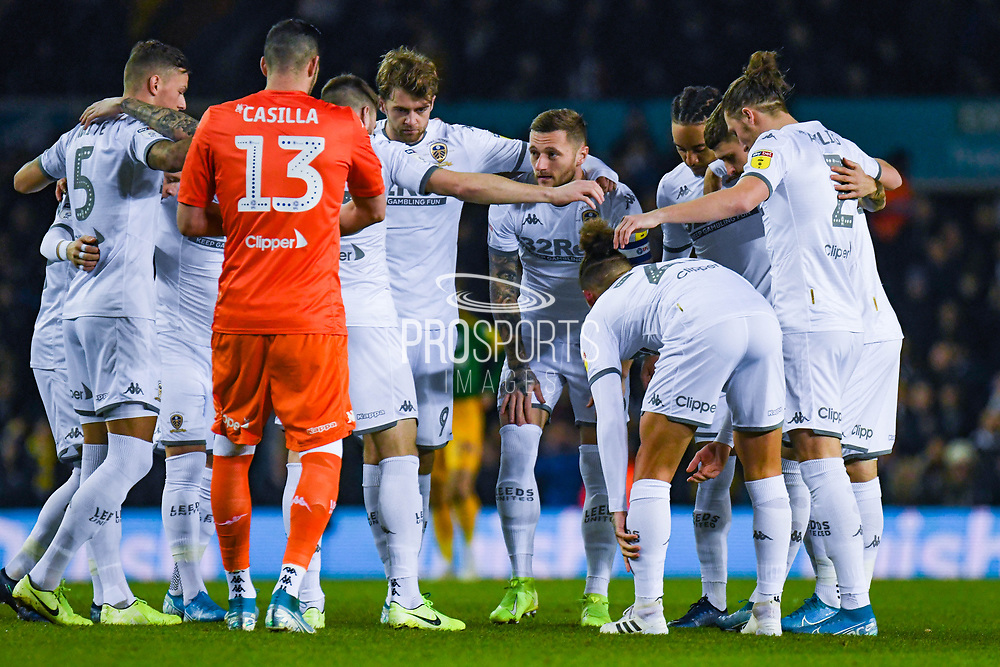 Leeds United players huddle during the EFL Sky Bet Championship match between Leeds United and Preston North End at Elland Road, Leeds, England on 26 December 2019.