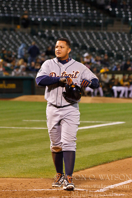 September 15, 2011; Oakland, CA, USA;  Detroit Tigers first baseman Miguel Cabrera (24) returns to the dugout after being stranded at third base against the Oakland Athletics during the seventh inning at O.co Coliseum.  Oakland defeated Detroit 6-1.