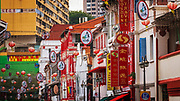 Shops and hanging lanterns on Temple Street in Chinatown, Singapore, Republic of Singapore