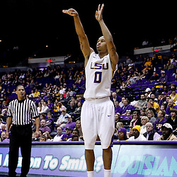 Jan 5, 2013; Baton Rouge, LA, USA; LSU Tigers guard Charles Carmouche (0) shoots a three pointer against the Bethune-Cookman Wildcats during the second half of a game at the Pete Maravich Assembly Center. LSU defeated Bethune-Cookman 79-63. Mandatory Credit: Derick E. Hingle-USA TODAY Sports