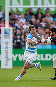 Gloucester, Great Britain, Right, Viktor KOLELISHVILI, goes frt the throat of Puma's No.8. Facundo ISA, during the Argentina vs Georgia, Pool C. game. 2015 Rugby World Cup, Venue. Kingsholm Stadium. England, Friday - 25/09/2015 <br /> [Mandatory Credit; Peter Spurrier/Intersport-images]