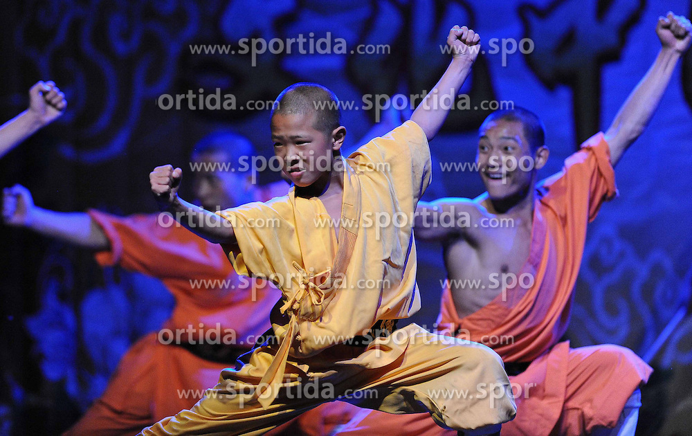 Members of Chinese troupe of the Training Center for Warrior Monks of Shaolin Temple, present martial arts on the sidelines of the Spring Festival celebration at La Cupula Theater in Santiago, capital of Chile, on Feb. 28, 2015. EXPA Pictures &copy; 2015, PhotoCredit: EXPA/ Photoshot/ Jorge Villegas<br /> <br /> *****ATTENTION - for AUT, SLO, CRO, SRB, BIH, MAZ only*****