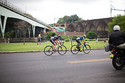 Mara Abbott (USA) of Wiggle Hi5 Cycling Team and Lauren Stephens (USA) of Tibco Cycling Team try to maintain their lead in the third lap of the Philadelphia International Cycling Classic, a 117.8 km road race in Philadelphia on June 5, 2016 in Philadelphia, PA.