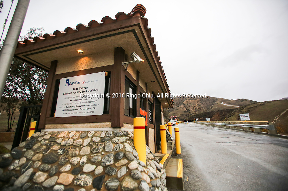 The entrance of the Aliso Canyon storage facility at the Porter Ranch area of Los Angeles, California, the United States on January 6, 2015.  California Gov. Jerry Brown declared a state of emergency today in the Porter Ranch area due to the continuing leak of natural gas from the Aliso Canyon storage facility. The leak at Porter Ranch started in October, and likely won&rsquo;t be fixed for at least two more months. Officials have relocated several thousand residents who said the stench made them sick.(Photo by Ringo Chiu/PHOTOFORMULA.com)<br /> <br /> Usage Notes: This content is intended for editorial use only. For other uses, additional clearances may be required.