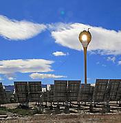 Heliostats reflect sunrays to receiver tower, solar energy scientific research centre, Tabernas, Almeria, Spain - AORA Tulip System