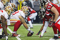 20 January 2013: Center (59) jonathan Goodwin of the San Francisco 49ers waits to snap the ball against the Atlanta Falcons during the first half of the 49ers 28-24 victory over the Falcons in the NFC Championship Game at the Georgia Dome in Atlanta, GA.