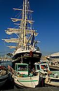= Fish market on the old port   France     /// marche aux poissons sur le vieux port , trois mats le Belem ,marseille France  +