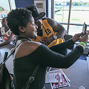 Singer and TV personality Ray J takes a selfie with a fan after signing autographs prior to The 15th annual Duffy's Hope Celebrity Basketball Game Saturday, August 05, 2017, at The Bob Carpenter Sports Convocation Center, in Newark, DEL. <br />