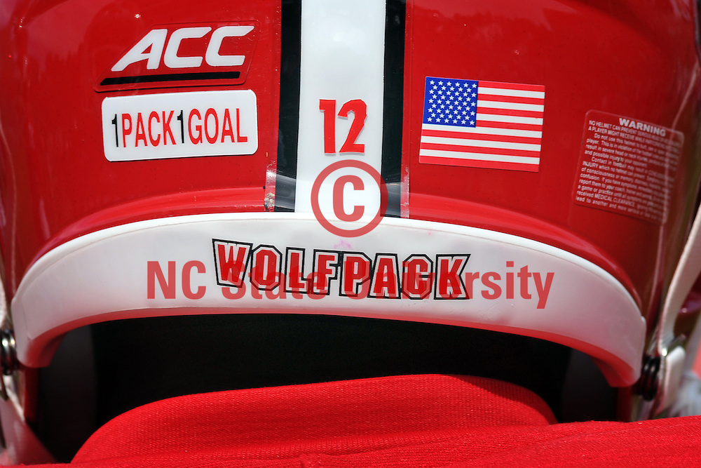 Back of a Wolfpack football player's helmet.