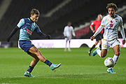 Wycombe Wanderers striker Scott Kashket (11) takes a shot at goal during the EFL Trophy match between Milton Keynes Dons and Wycombe Wanderers at stadium:mk, Milton Keynes, England on 12 November 2019.