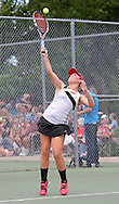 Iowa City High's Eve Small serves during the Singles Draw finals match of the Class 2A state tennis tournament at Veterans Memorial Tennis Center in Cedar Rapids on Friday, May 31, 2013.