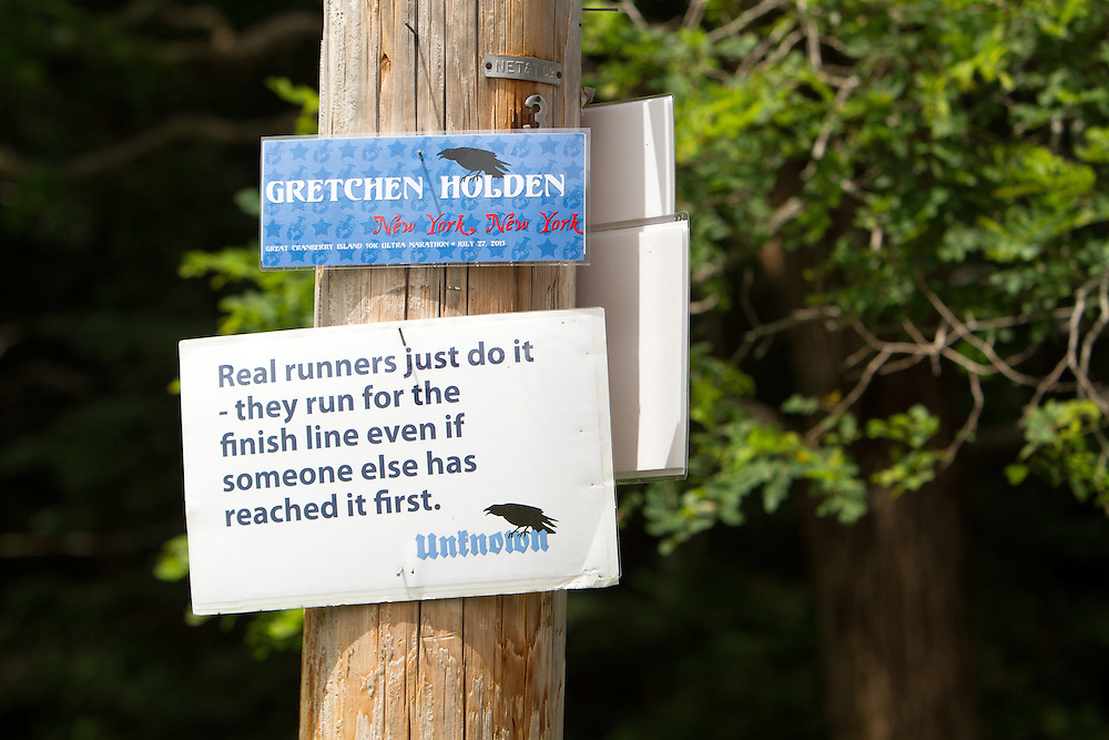 Great Cranberry Island Ultra 50K road race: inspirational sign on post, Gretchen Holden