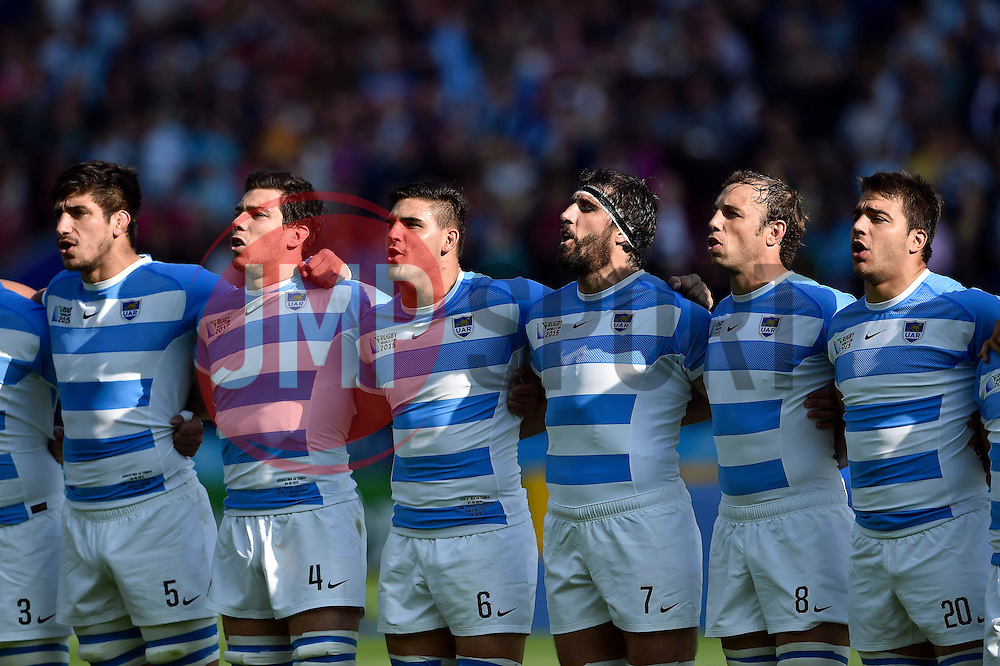 The Argentina team sing their national anthem - Mandatory byline: Patrick Khachfe/JMP - 07966 386802 - 04/10/2015 - RUGBY UNION - Leicester City Stadium - Leicester, England - Argentina v Tonga - Rugby World Cup 2015 Pool C.