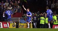 Photo. Richard Lane. <br />Aston Villa v Birmingham City. Barclaycard Premiership. 03/03/2003<br />Geoff Horsfield celebrates his goal.