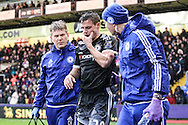 César Azpilicueta of Chelsea is injured in the opening exchanges during the Barclays Premier League match between Crystal Palace and Chelsea at Selhurst Park, London, England on 3 January 2016. Photo by Ken Sparks.