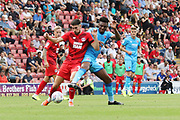 Conor Wilkinson and Rohan Ince   during the EFL Sky Bet League 2 match between Leyton Orient and Cheltenham Town at the Matchroom Stadium, London, England on 3 August 2019.