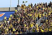 Columbus Crew fans cheer prior to the start of the MLS soccer match between FC Cincinnati and the Columbus Crew Sunday, Aug 25th, 2019, in Cincinnati, OH. (Jason Whitman/Image of Sport)