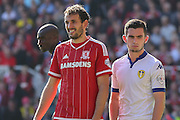 Middlesbrough forward Christian Stuani and Leeds United midfielder Lewis Cook   during the Sky Bet Championship match between Middlesbrough and Leeds United at the Riverside Stadium, Middlesbrough, England on 27 September 2015. Photo by Simon Davies.