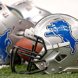 January 7, 2012; New Orleans, LA, USA; A detail of Detroit Lions helmets and a football on the field before the 2011 NFC wild card playoff game against the New Orleans Saints at the Mercedes-Benz Superdome. Mandatory Credit: Derick E. Hingle-US PRESSWIRE