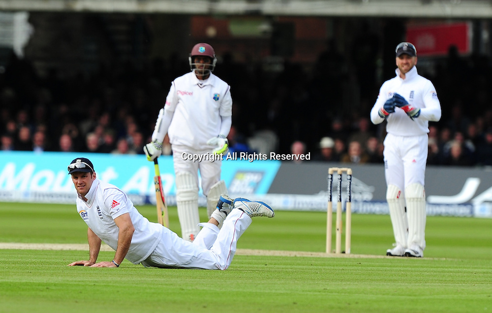 17.05.2012 London, England.  Andrew Strauss in action during the First Test between England and West Indies from Lords.