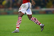 Holes in the socks of Dimitri Cavaré of Barnsley F.C. during the EFL Sky Bet Championship match between Barnsley and Bristol City at Oakwell, Barnsley, England on 1 November 2019.
