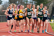 Women competitors take off from the start line during the women's 3000 meter steeplechase during the first day of the America East Track and Field Championship at the Frank H. Livak Track and Field Facility on Saturday May 3, 2014 in Burlington, Vermont. (BRIAN JENKINS, for the Free Press)