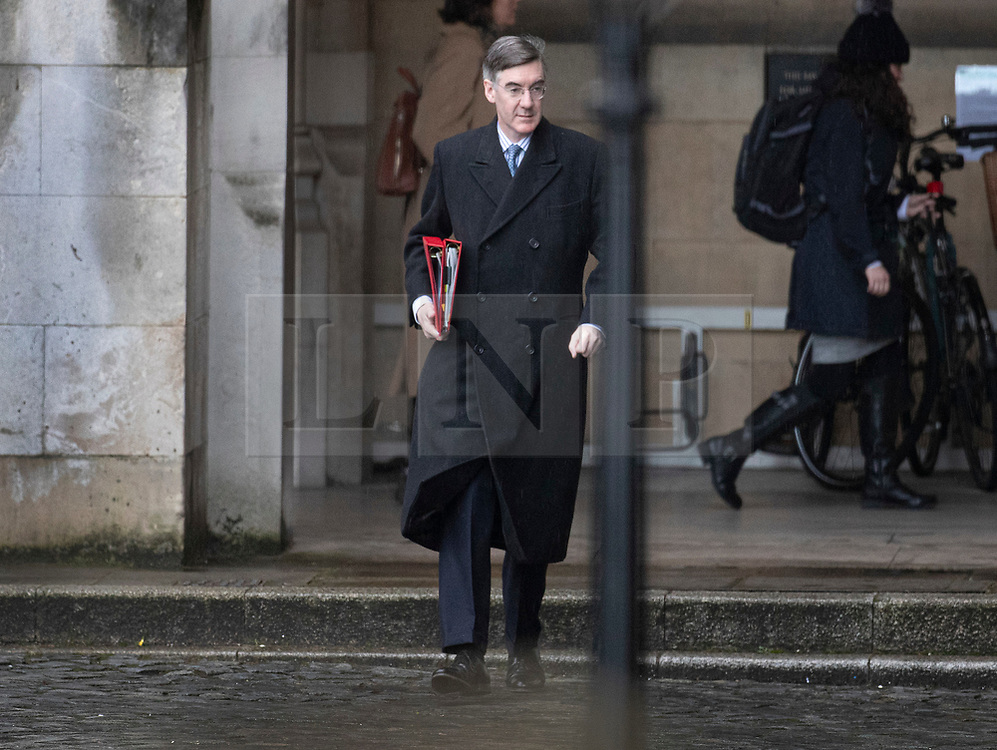 © Licensed to London News Pictures. 13/02/2020. London, UK. Leader of the House of Commons Jacob Rees Mogg arrives in Parliament. A cabinet re-shuffle is taking place today - the Prime Minister's first since the election. Photo credit: Peter Macdiarmid/LNP