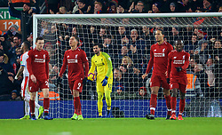 LIVERPOOL, ENGLAND - Saturday, January 19, 2019: Liverpool's goalkeeper Alisson Becker looks dejected as Crystal Palace score the second goal during the FA Premier League match between Liverpool FC and Crystal Palace FC at Anfield. (Pic by David Rawcliffe/Propaganda)
