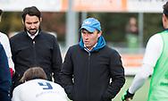 TILBURG - coach Jeroen Delmee (Tilburg) met links assistent-coach Dennis Dijkshoorn (Tilburg)  . Hoofdklasse hockey competitie Tilburg-SCHC (4-2). COPYRIGHT KOEN SUYK