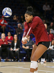 October 7, 2018 - Tucson, AZ, U.S. - TUCSON, AZ - OCTOBER 07: Washington State Cougars outside hitter Taylor Mims (10) hits the ball during a college volleyball game between the Arizona Wildcats and the Washington State Cougars on October 07, 2018, at McKale Center in Tucson, AZ. Washington State defeated Arizona 3-2. (Photo by Jacob Snow/Icon Sportswire) (Credit Image: © Jacob Snow/Icon SMI via ZUMA Press)