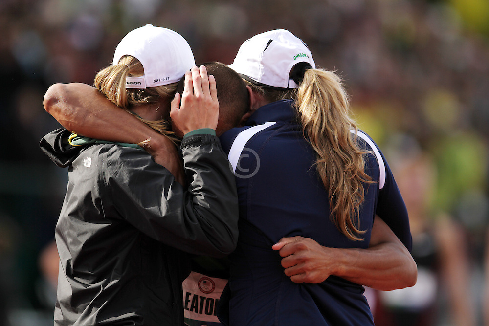 Olympic Trials Eugene 2012: Decathlon, 1500 meters, Ashton Eaton, reacts to setting world record, Olympian, hugged by girlfriend and mother,