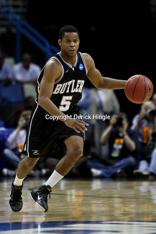 Mar 26, 2011; New Orleans, LA; Butler Bulldogs guard Ronald Nored (5) against the Florida Gators during the first half of the semifinals of the southeast regional of the 2011 NCAA men's basketball tournament at New Orleans Arena.   Mandatory Credit: Derick E. Hingle