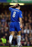 Photo: Scott Heavey.<br /> Chelsea v Birmingham City. FA Barclaycard Premiership. 18/01/2004.<br /> Frank Lampard knows his team needed the three points