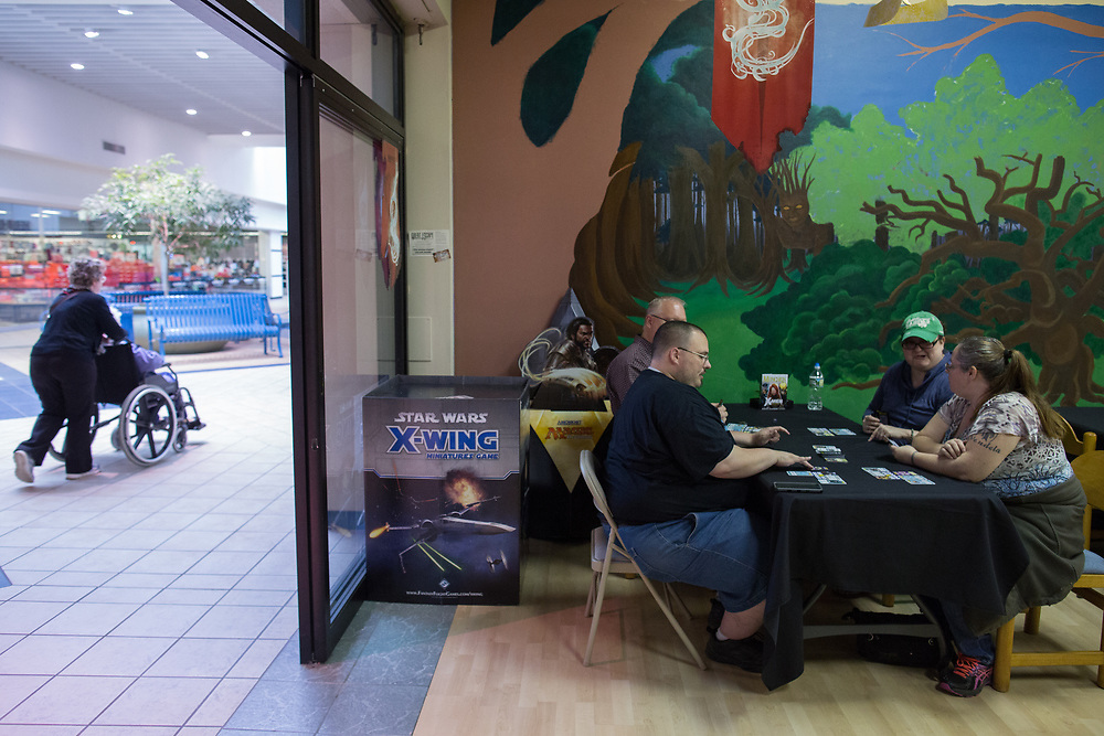 Great Escape Adventures, a locally-owned game shop at Arnot Mall in Elmira, New York, hosts game nights most weeknights. CREDIT: Mike Bradley for the Wall Street Journal<br /> RIPPLES