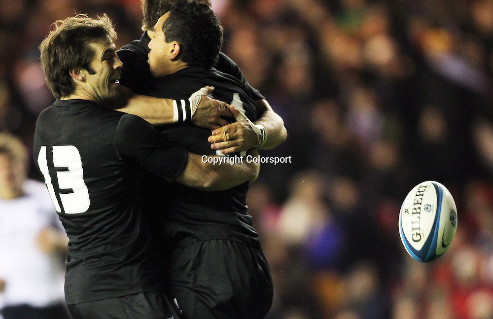 Rugby - Autumn Test - Scotland vs New Zealand<br /> <br /> <br /> Hosea Gear of New Zealand is congratulated after scoring his first try during the Scotland vs New Zealand Autumn Test at Murrayfield .