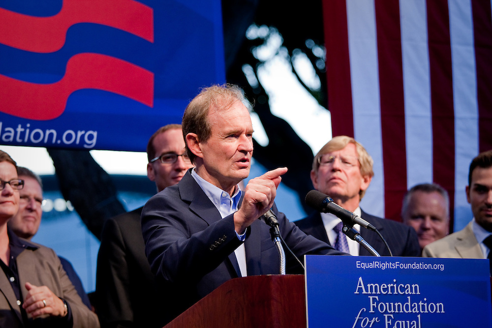 David Boies, one of the lawyers of the plaintiffs in support of Gay Marriage, addresses the crowd at a rally after Prop 8 was overturned.