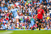 Manchester City Women defender Steph Houghton (6) and Manchester United Women forward Jane Ross (19) during the FA Women's Super League match between Manchester City Women and Manchester United Women at the Sport City Academy Stadium, Manchester, United Kingdom on 7 September 2019.