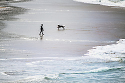 A boy and a dog seen in silhouette and from a distance playing on Fistral Beach in Newquay, Cornwall.