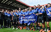 Bournemouth players celebrate after winning the Sky Bet Championship title after the Sky Bet Championship match between Charlton Athletic and Bournemouth at The Valley, London, England on 2 May 2015. Photo by David Charbit.