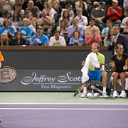 March 7, 2015, Indian Wells, California:<br /> Jagger Leach, son of Lindsay Davenport, reacts after playing a point during the McEnroe Challenge for Charity presented by Masimo in Stadium 2 at the Indian Wells Tennis Garden in Indian Wells, California Saturday, March 7, 2015.<br /> (Photo by Billie Weiss/BNP Paribas Open)