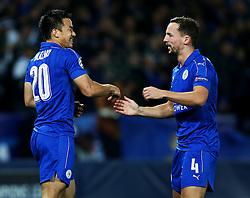 Shinji Okazaki of Leicester City celebrates with Danny Drinkwater - Mandatory by-line: Matt McNulty/JMP - 22/11/2016 - FOOTBALL - King Power Stadium - Leicester, England - Leicester City v Club Brugge - UEFA Champions League