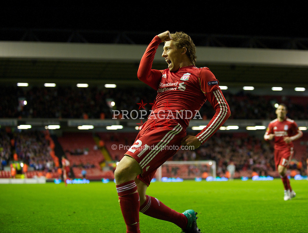 LIVERPOOL, ENGLAND - Thursday, September 16, 2010: Liverpool's Lucas Leiva celebrates scoring his side's third goal against FC Steaua Bucuresti during the opening UEFA Europa League Group K match at Anfield. (Photo by David Rawcliffe/Propaganda)