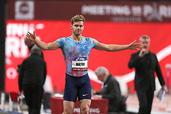 February 7, 2018 - Paris, Ile-de-France, France - Kevin Mayer (C) of France during the Athletics Indoor Meeting of Paris 2018, at AccorHotels Arena (Bercy) in Paris, France on February 7, 2018. (Credit Image: © Michel Stoupak/NurPhoto via ZUMA Press)