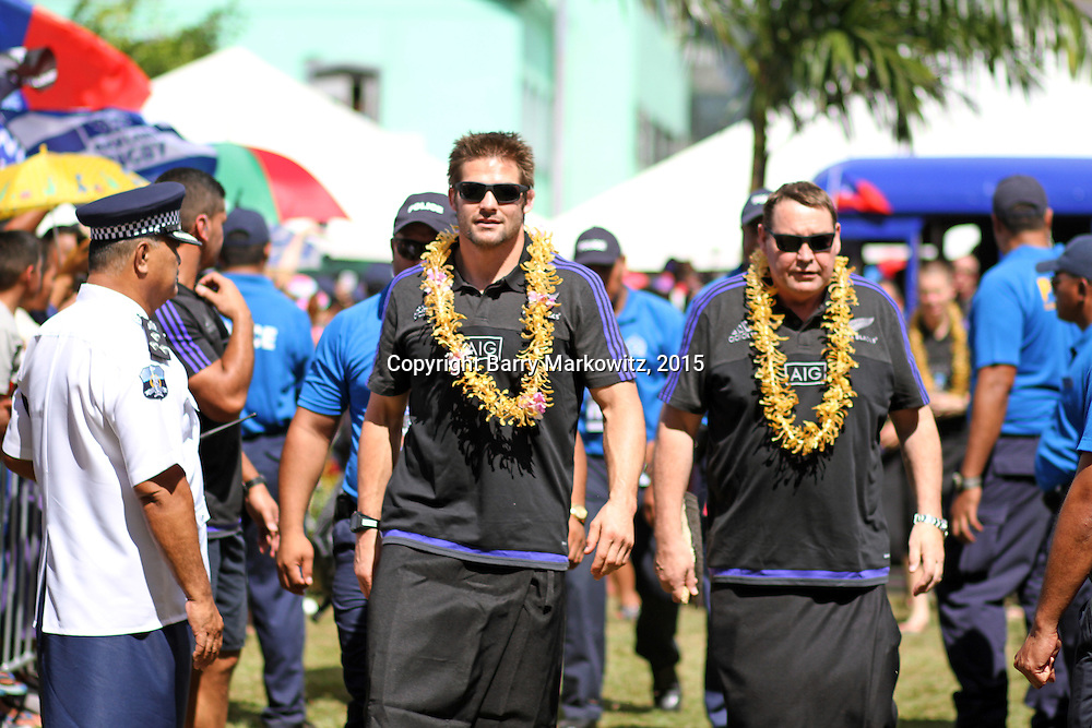 NZ All Blacks Captain Rich McCaw and Head Coach Steve Hansen, complete the welcoming Beach Road parade, the n approach the stage for the official government welcoming.  Photo by Barry Markowitz, 7/7/15<br /> n official stage