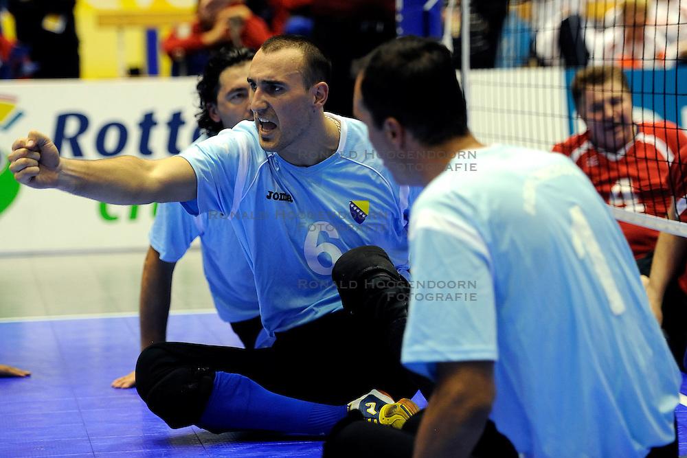 15-10-2011 VOLLEYBAL: EUROPEAN CHAMPIONSHIP SITTING VOLLEYBALL FINAL RUSSIA - BOSNIA HERZEGOVINA: ROTTERDAM<br /> Bosnia Herzegovina win the gold medal /  Mirzet Dunan BIH<br /> &copy;2011-FotoHoogendoorn.nl